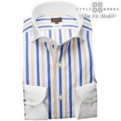 1903 国産長袖純綿ドレスシャツ スリムフィット クレリックカッタウェイワイド ブロックストライプ ブルー ベージュ ホワイトメンズ  fs3gm