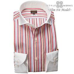 1903 国産長袖純綿ドレスシャツ スリムフィット クレリックカッタウェイワイド マルチカラーストライプメンズ  fs3gm