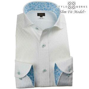 ドレスシャツ ワイシャツ シャツ メンズ 国産 長袖 綿100% スリムフィット カッタウェイワイドカラー ホワイト 白 ジャガード織ダイアチェック ミニドット【Sサイズ・裄丈81cm】 ( 2109_rwd ) 【OUTLETS】