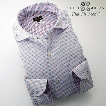 C-1407 日本製長袖綿100%ドレスシャツ スリムフィット ダブルガーゼ刺し子ドット・トリコロール カッタウェイワイド