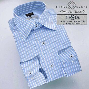 1402 国産長袖オリジナルドレスシャツ スリムフィット TESTAファブリック使用 レギュラーカラー ブルーロンドンストライプメンズ fs3gm
