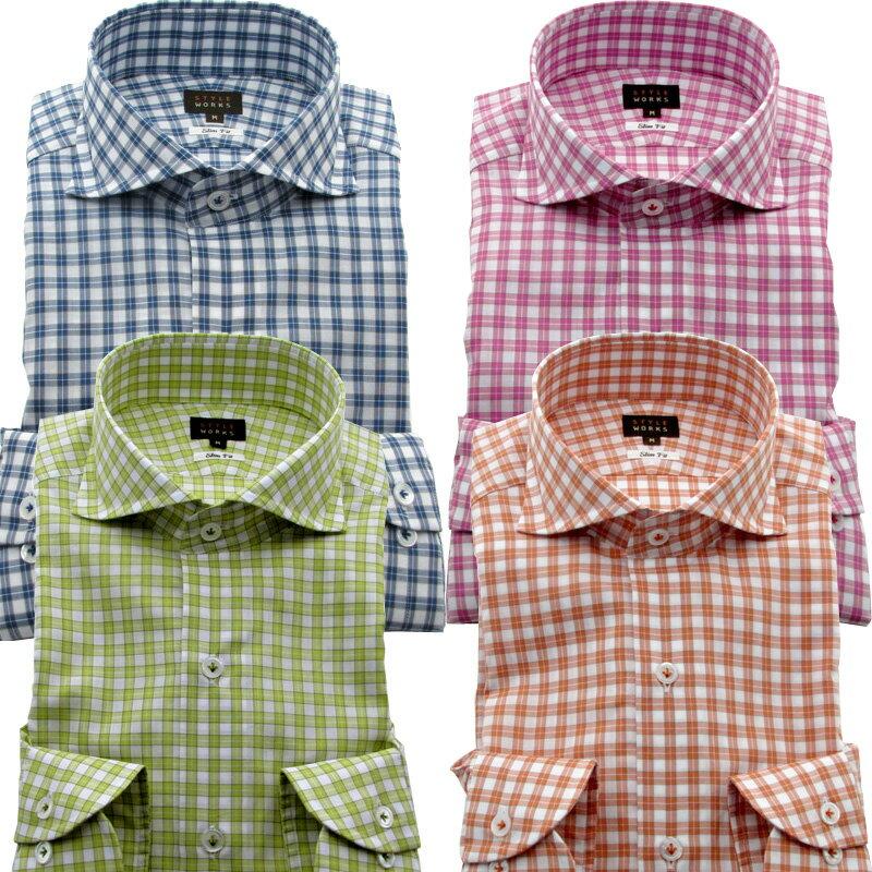 国産 長袖オリジナルドレスシャツ ワイシャツ シャツ メンズ スリムフィット カッタウェイワイド 国産別注生地 カラーチェック 柄選択有