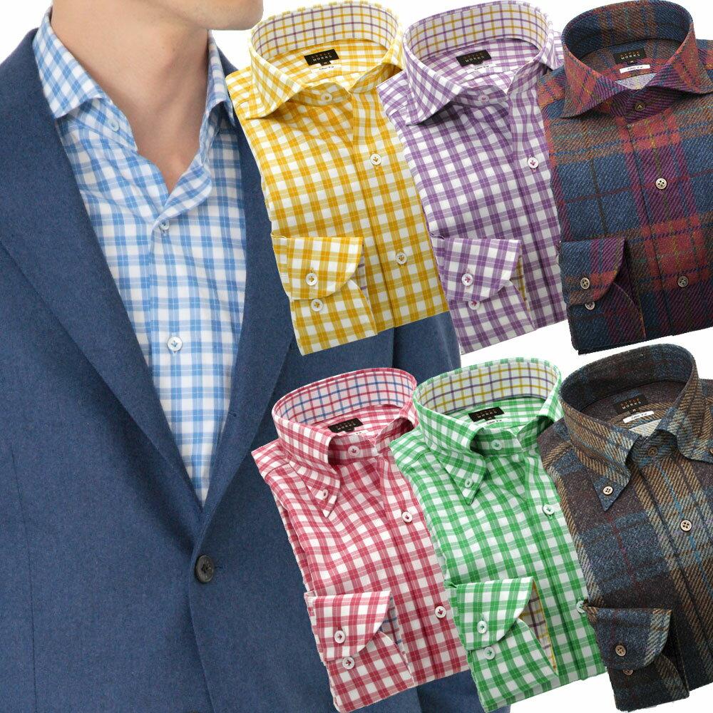 国産 長袖オリジナルドレスシャツ ワイシャツ シャツ メンズ ボタンダウン・カッタウェイワイド カラーチェック・ダークチェック 柄選択有