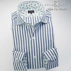 1607国産長袖ドレスシャツスリムフィットコットンパナマネイビーストライプカッタウェイ(ホリゾンタル)ワイドカラーメンズfs3gm
