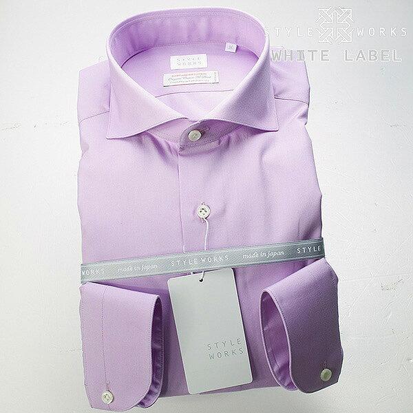 <White Label〜ホワイトレーベル〜>オリジナルドレスシャツ ワイシャツ シャツ メンズ 長袖 カッタウェイ/ホリゾンタルワイド パステルパープル