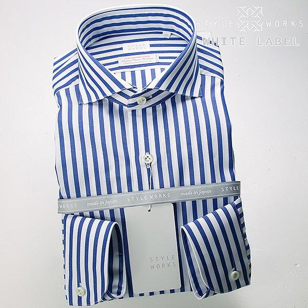 <White Label〜ホワイトレーベル〜>オリジナルドレスシャツ 長袖 カッタウェイワイド ブルーロンドンストライプメンズ