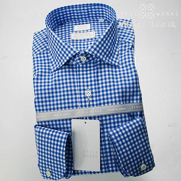 <White Label〜ホワイトレーベル〜>オリジナルドレスシャツ ワイシャツ シャツ メンズ 長袖 ワイドカラー ブルーギンガムチェック 【OUTLETS】