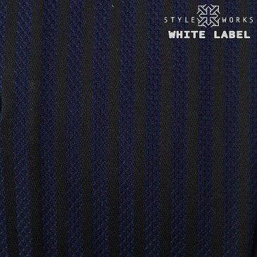 White Label ホワイトレーベル オリジナルドレスシャツ 長袖ホリゾンタル・カッタウェイワイド ダークネイビー ストライプメンズ fs3gm