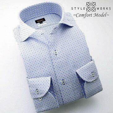 C-1406 日本製長袖綿100%ドレスシャツ コンフォート カッタウェイワイドカラー ダブルガーゼ刺し子ドット