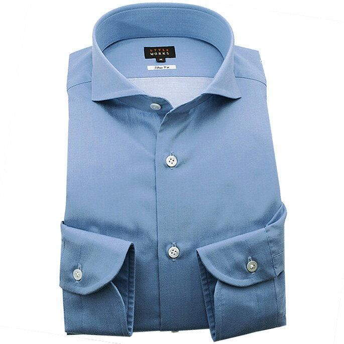 オリジナルドレスカジュアルシャツ ツイルサックスブルービーチ加工 カッタウェイワイドカラー