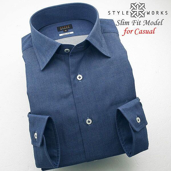 オリジナルドレスカジュアルシャツ ダンガリービーチ加工 ショートレギュラーカラー