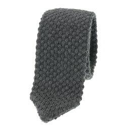 ウールニットネクタイ ソリッド 無地 チャコールグレー イタリア製