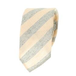 国産ネクタイ ブロックストライプ リネン・シルク・コットン混紡 ペールイエロー グレー