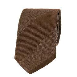 国産シルクジャガードネクタイ ブロックストライプ ブラウン シルク100%