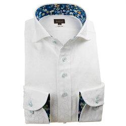 国産長袖綿100%ドレスシャツ スリムフィット カッタウェイワイドカラー ホワイトジャガード織柄 幾何柄