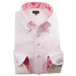 国産長袖綿100%ドレスシャツ スリムフィット ボタンダウン ジャガード織 麻葉柄 ピンク 1912