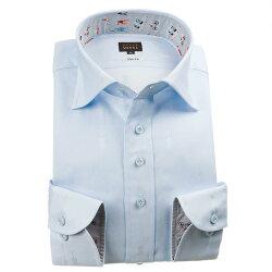 国産長袖綿100%ドレスシャツ スリムフィット ワイドカラー スカイブルー ジャガード織柄 トルソー型ドット 1912