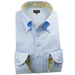 国産長袖綿100%ドレスシャツ スリムフィット ボタンダウン ジャガード グラデーションシャワースポットドット スカイブルー 1912