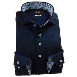 国産長袖綿100%ドレスシャツ スリムフィット カッタウェイワイドカラー ダークネイビー ジャガード織柄 化学式 1912