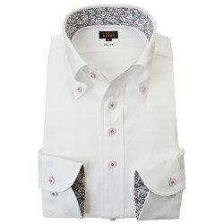 国産長袖ドレスシャツ スリムフィット ボタンダウン ホワイト ジャガード 時計デザインドット柄 2001