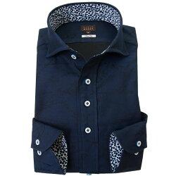 国産長袖綿100%ドレスシャツ スリムフィット カッタウェイワイドカラー ダークネイビー ジャガード織柄 数式 方程式 関数 2001