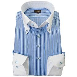 国産長袖綿100%ドレスシャツ スリムフィット クレリックボタンダウン ブルーマルチストライプ 2001