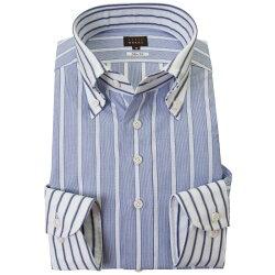 国産長袖綿100%ドレスシャツ スリムフィット クレリックボタンダウン ブルーボールドストライプ 絡み織 2001