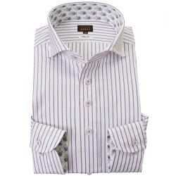 国産長袖綿100%ドレスシャツ スリムフィット カッタウェイワイド パープルストライプ 2001
