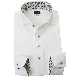 国産長袖綿100%ドレスシャツ スリムフィット カッタウェイワイド ホワイト ジャガード織柄 数式 方程式  2001