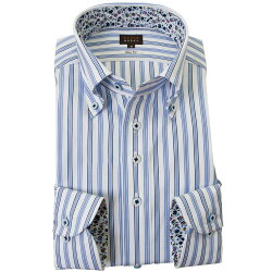 国産長袖綿100%ドレスシャツ スリムフィット ボタンダウン ブルーマルチストライプ 2001