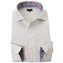 国産長袖綿100%ドレスシャツ スリムフィット カッタウェイワイドカラー オルタネイトストライプ グレー ホワイト オレンジ 2001