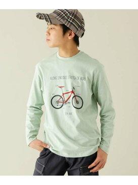 【SALE/30%OFF】THE SHOP TK 【160cm】自転車プリントロングTシャツ ザ ショップ ティーケー カットソー Tシャツ グリーン ブルー【RBA_E】