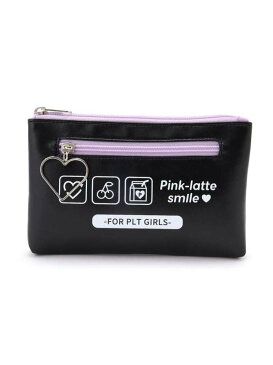 【SALE/50%OFF】PINK-latte アイコンプリントフラットポーチ ピンク ラテ バッグ ポーチ ブラック パープル ブルー【RBA_E】