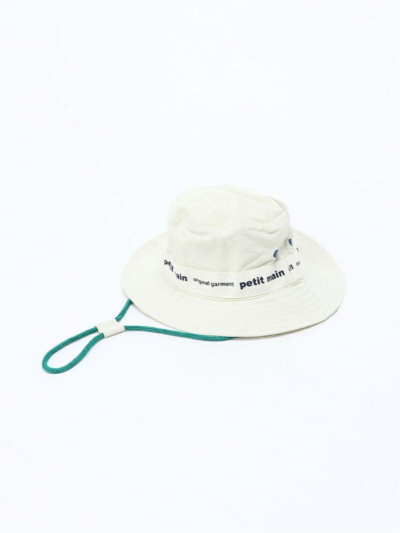 petit main BABYテープロゴHAT ナルミヤオンライン ファッショングッズ キッズ用品 ホワイト ベージュ