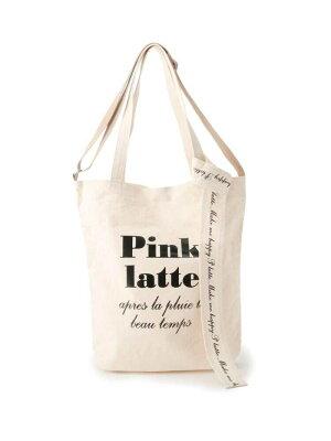 【SALE/40%OFF】PINK-latte ロゴリボン付きキャンバストートバッグ ピンク ラテ バッグ トートバッグ ホワイト ブラック パープル【RBA_E】