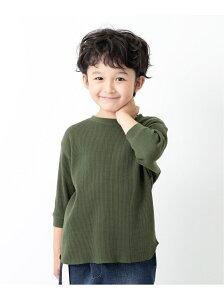 devirock ワッフル7分袖Tシャツ デビロック カットソー Tシャツ グリーン パープル ブラウン ブラック ベージュ ホワイト