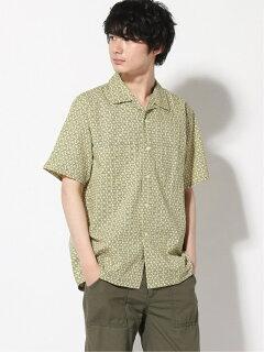 Fine Print Short Sleeve Camp Shirt 11-01-1061-139: Yellow