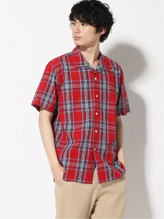 Plaid Short Sleeve Camp Shirt 11-01-1069-139: Red