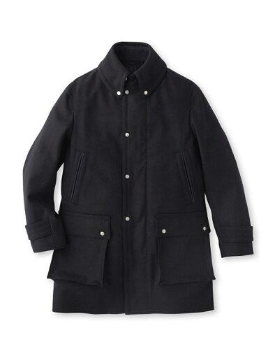 Super 100s Melton Coat 086-97012: Navy