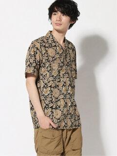 Block Print Short Sleeve Camp Shirt 11-01-1075-139: Brown