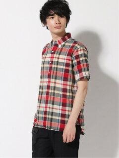 Madras Short-Sleeve Popover Buttondown Shirt 11-01-1077-139: Red