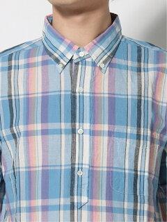 Madras Short-Sleeve Popover Buttondown Shirt 11-01-1077-139: Saxe
