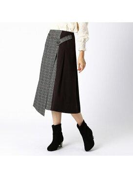 COMME CA ISM チェック柄ラップ風スカート コムサイズム スカート 台形スカート/コクーンスカート ブラック ネイビー【送料無料】