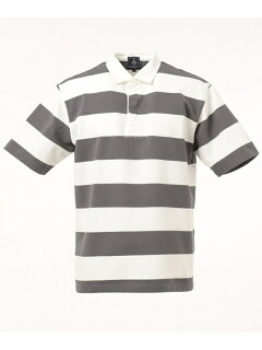 J. Press Short Sleeve Stripe Rugby Shirt KHOVKM0400: Light Grey