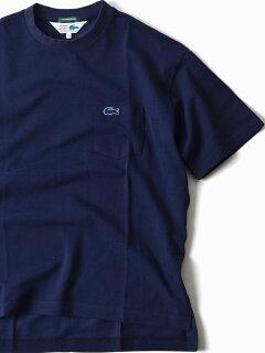 Pique Drop Tail Pocket Tee 112-12-1018: Navy