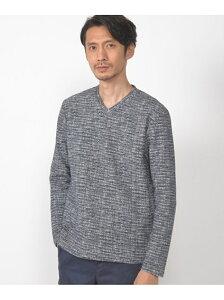 CROWDED CLOSET メランジ編みVネックカットソー メンズ ビギ カットソー Tシャツ グレー ネイビー【送料無料】