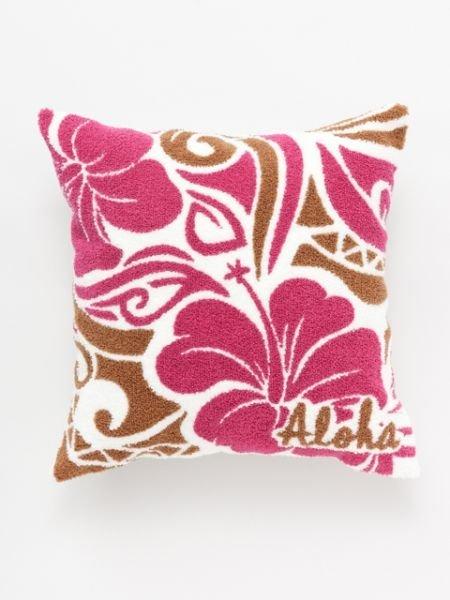 Kahikoハワイアンさがら刺繍クッションカバーチャイハネ生活雑貨インテリアファブリック(クッション・テーブルクロス)レッド
