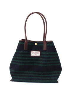 Harris Tweed Stripe Tote Bag 388-07141: Green