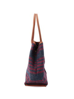 Harris Tweed Stripe Tote Bag 388-07141: Red