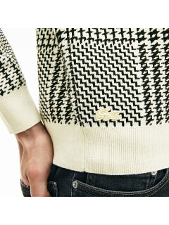 Lacoste Crewneck Houndstooth Cotton and Cashmere Sweater AH8388L: White / Black